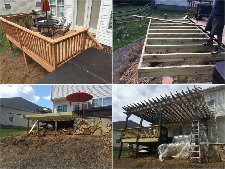 Carpentry Construction, Deck Construction, Deck Build & Pergola, with hot tub bench seat Denver. NC
