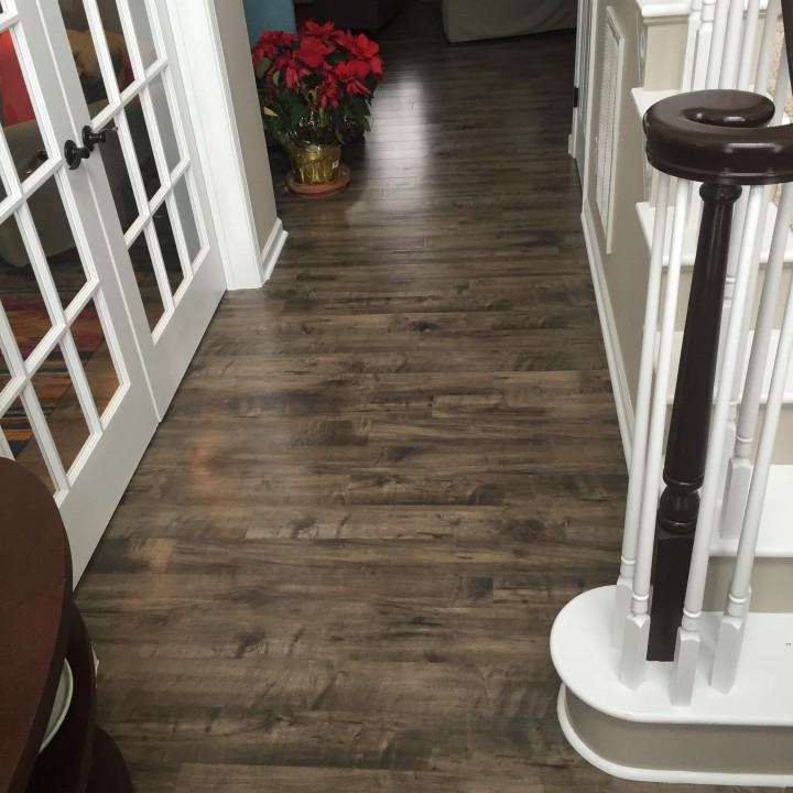 Before and After Staircase Restoration & Painting Project and Hardwood Floor & French Door Installation in Huntersville, NC