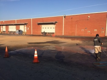 Before & After Parking Lot Construction Pressure Washing Cleaning Charlotte, NC