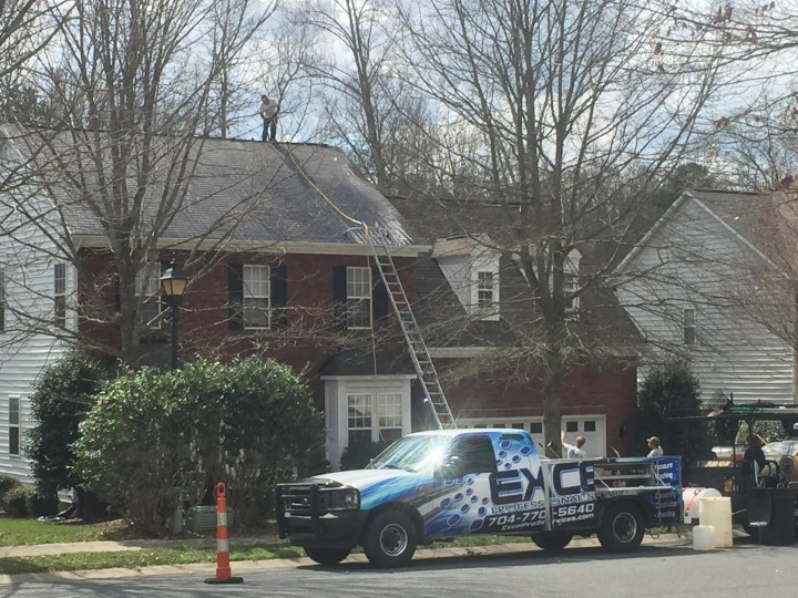 Roof washing / roof cleaning Huntersville NC.    Driveway washing , deck washing.   House pressure washing house power washing